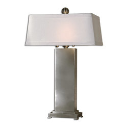 Uttermost - Uttermost Metal Contempo Lamp - Uttermost Rhona Table Lamp is a part of Carolyn Kinder Collection by Uttermost This lamp has an antique silver leaf finish with black dry brushing, nickel plated accents and a black base. The rectangular shade is a hand sewn bronze textile. Lamp (1)