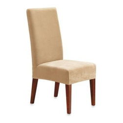 Sure Fit - Sure Fit Stretch Pique Short Dining Room Chair Slipcover - Get a new look for your home with this stretch pique slipcover, which has a sleek look, tailored fit, and ultra-soft finish. The subtle geometric design, in a slightly raised waffle-knit pattern, adds cozy texture.