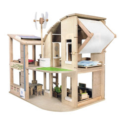 Plan Toys The Green Dollhouse With Furniture - This house from Plan Toys is designed to encourage green living and made from renewable rubber wood, ecofriendly glue and non-toxic, water-based dyes. It includes a rain barrel for collecting rainwater, a wind turbine, solar panels on the roof and a set of recycling bins.