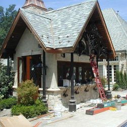 Wright Home-Pool House Kitchen - Pool House Kitchen exterior shot with french diamond panels