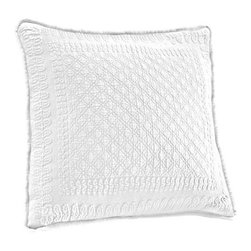 Historic Charleston Collection - King Charles Matelasse White 18-Inch Square Decorative Pillow-Only - - Steeped in Historic Charleston?s rich, classic style and decorative arts culture, the King Charles 100% cotton matelass� bedding collection offers a unique blend of European, Caribbean, and Asian influences.   - King Charles matelass� bedding offers a luxuriously soft bedspread, coverlet, bed skirt, shams and decorative accent pillows featuring classic 19th century motifs representing the sun, a topiary, a pheasant, and a pineapple.   - The superior design of the King Charles matelass� bedding ensemble can be traced back to England circa 1820, incorporating key influences from that time period including the fine arts and superior craftsmanship.   - Each piece is crafted individually on special weaving looms to create the luxurious design that defines this lovely matelass� bedding collection.   - Highs and lows created during the jacquard weaving process allow the intricate designs and motifs to come to life.   - Designs from the archives of Historic Charleston?s heritage, were interpreted to create the lovely King Charles bedding set.   - Rolling arches, half-moons, double diamonds and scrolling vine details wrap around the classic topiary, pheasant, sun and pineapple motifs.   - Coverlet and bedspread drape beautifully over the bed to reveal rounded corners.   - Pair the bedspread or coverlet with bed skirt to create a complete look.   - Add coordinating, decorative shams and pillows to create the ultimate bedroom oasis.   - The heavy-weight, stonewashed matelass� of King Charles bedding ensures life-long durability and style for generations to come.   - Crafted in Portugal.   - Stone-washed.   - 100% cotton matelass�.   - The Historic Charleston Foundation was established in 1947 and is a nonprofit organization whose mission is to preserve and protect the historical, architectural and material culture that make up Charleston?s rich and irreplaceable heritage.   