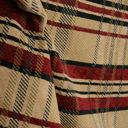 Barrow - M8816 Hearth Black Red Chenille Plaid Fabric By The Yard - M8816 Hearth from Barrow.  The plaid pattern on this fabric is made up of rust, black and beige chenille vertical and horizontal stripes.  Uses for this fabric include pillows, cornice boards and upholstery.
