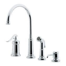 Price Pfister - Pfister GT26-4YPC Ashfield Kitchen Faucet With Spray - Price Pfister GT26-4YPC is an Ashfield Series Single control 4-hole kitchen faucet with Matching decorative Side Spray and Soap Dispenser.