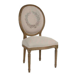 """Zentique - Zentique Furniture Medallion Natural Linen Side Chair - Fusing classic European design with simple rustic charm, understated elegance defines Zentique's collection of fine home furnishings. This Louis XVI style Medallion dining chair boasts a recycled elm wood frame with delicate carvings. Against a natural linen background, a decorative laurel wreath accents its traditional oval back.  Chair measures 21""""W  x 19""""D x 41""""H. Seat: 18""""H ."""