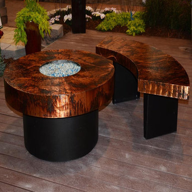R & R Living Athena Round Fire Pit Table - The Athena Round Fire Pit Table by R & R Living is durably made with recycled steel construction and a cutting-edge Armor finish. Each Athena table is completely hand finished in one of your choice of 12 different organically-inspired finishes to create a stunning focal point for your patio or outdoor deck.