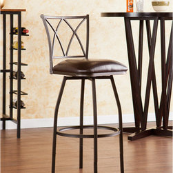 """Wildon Home � - Albertson Adjustable Counter / Bar Stool - Raise the bar in convenient seating! This adjustable stool is the perfect option for fashionable bar or counter seating. Optional leg extensions adapt this versatile stool from counter to bar height in minutes. Sloped lines and X cast design create a clean, simple look. A powder-coated, hammered bronze finish and sturdy steel construction offer timeless beauty. The seat features a plush foam cushion covered in rich dark brown vinyl; a full 360 degree swivel and convenient footrest ring add to the comfort. The sleek design and hammered bronze finish make this a great addition for traditional to modern homes. Perfect for the kitchen, breakfast nook, bar, or dining area. The handcrafted touch of artisan skill also creates variations in color, size, and design; slight differences should be expected. Features: -Hammered bronze finish with rich dark brown seat cushion. -Constructed of powder-coated steel, vinyl, particle board, and polyurethane foam. -Adjustable height offers quick and convenient switch from counter to bar seating. -Sturdy steel frame with luxurious vinyl seat and fire-retardant foam cushion. -Includes leg extensions that adjust from 24.5"""" to 30"""" seat height with light assembly. -Smooth 360 degree swivel. -Convenient footrest ring for ultimate comfort. -Curved backrest for optimum support. -1 Year warranty. Dimensions: -Counter stool seat height: 24.5"""". -Counter stool footrest height: 7.5"""". -Bar stool seat height: 30"""". -Bar stool footrest height: 11.5"""" H. -Cushion thickness: 3"""". -Seat: 14.75"""" D x 15.25"""" W. -Backrest: 14"""" H x 16.25"""" W. -Counter stool overall: 37.75"""" H x 17"""" W x 19.75"""" D, 20 lbs. -Bar stool overall: 40.75"""" H x 17"""" W x 19.75"""" D, 20 lbs. -Max weight capacity: 250 lbs."""