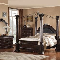 Acme Furniture - Roman Empire II 5 Piece Queen Canopy Bedroom Set in Dark Cherry - Set includes Queen Bed, Dresser, Mirror, Nightstand and Chest