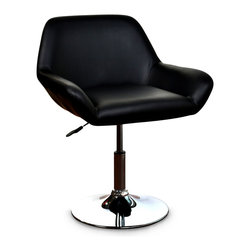 """Concepts Life - Concepts Life Modern Adjustable Swivel Chair Galaxy - Our most loungy and substantial of the Concepts Life bar chair collections. Home office? Modern Office? search no more, these adjustable chairs will bring modern and elegance to no avail. Height adjusts from 28 inches up to 33 inches. Product Details Modern adjustable chair Full padded seat with back and armrests Height adjusts from: 28""""-33"""" Materials: metal base and leatherette seat Dimensions: 24""""w x 33""""h x 24""""d Weight: 21 lbs"""