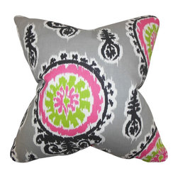 "The Pillow Collection - Oenpelli Ikat Pillow Gray - Make this throw pillow a statement piece to your living room or bedroom. This toss pillow features an eccentric ikat pillow in shades of gray, black, white, pink and green. Decorate this 18"" pillow to your sofa, bed or seat for added comfort. Made with a blend of high-quality materials: 75% cotton and 25% linen."