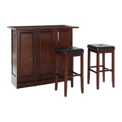Crosley Furniture - Mobile Folding Bar with Upholstered Square Se - Includes two 29 in. upholstered square seat stools. Folds up to 1/3 It's size. Open and closed storage. Adjustable levelers for stability. Brushed nickel hardware. Hidden casters for mobility when folded up. Warranty: 90 days. Made from solid hardwood and wood veneers. Vintage mahogany finish. Made in Vietnam. Assembly required. 48.75 in. W x 22 in. D x 42 in. H (136 lbs.)Elegantly entertain guests with this mobile folding bar cabinet constructed of solid hardwood and wood veneers. The bars handsome raised panels are classically styled to enhance any home decor. Behind the bar, you will find plentiful storage space for spirits, glassware, and a host of other bar items. When open, the large 49-by-22-inch top is ideal for serving drinks or just hanging out with friends. Style, function, and quality make this mobile folding bar a wise addition to your home.