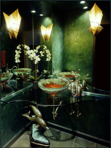 asian powder room by Diane Plesset, CMKBD, NCIDQ, C.A.P.S.