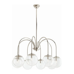 Arteriors - Zada Chandelier - Hang this chandelier in your favorite setting — it's like having your own personal solar system! Eight seeded glass globes suspend from slender arms of iron with a polished nickel finish for an effect that's sophisticated yet fun.