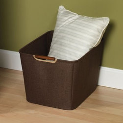 15.75 in. Coffee Linen Bin with Wood Handles - Kids toys, magazines, winter wear, and more can be stored in the 15.75 in. Coffee Linen Bin with Wood Handles. This handsome bin is incredibly sturdy, with a metal frame for added stability with stylish and comfortable wooden handles that perfectly complement the rich coffee linen. It's an ideal storage unit for easy-access items that you use frequently. Think of all the pillows, scarves, mittens, shoes, blankets, and other items that you have crammed in shelves or cluttering corners that could use a beautiful storage bin like this one! Measures 15.75W x 13D x 11H inches.About Household EssentialsHousehold Essentials is a bold, bright, and innovative company, working hard to bring you the foundations and modern innovations of laundry and storage essentials. Over 200 years of experience provide the company with the vision necessary for creating the perfect products for you and the credentials worthy of winning Cradle to Cradle's Silver Certification. Let Household Essentials accompany you into the future while offering you the means to have a wonderfully efficient home today.
