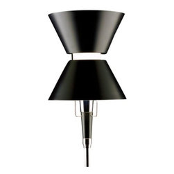 Omikron Design - Yo Yo Floor Lamp by Omikron Design - Inspired by the same-named toy, the Omikron Design Yo Yo Floor Lamp can be used to perform just as many impressive tricks (with light, of course). The basic shade structure is two cones, finished in Black with a reflective White interior. Through these cones, light can be dimmed and brightened and directed up, down and/or outward to achieve any desired lighting effect.Since 1946, Omikron Design in Milan has devoted itself to illuminating and enhancing interiors with clean, contemporary lighting fixtures. As such, their line of ceiling lights, wall sconces, floor lamps and table lamps display timeless design and supreme functionality. Omikron Design products are distributed by Illuminating Experiences.The Omikron Design Yo Yo Floor Lamp is available with the following:Details:2 Black shades with White interiorBrass and aluminum constructionChrome finishDimmerDesigned by Emmanuel GallinaLighting:One 100 Watt 120 Volt Type E26 Halogen lamp (not included).Shipping:This item usually ship within 3 to 5 business days.
