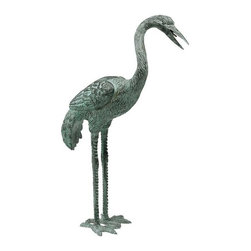 "EttansPalace - 20"" Asian Bronze Crane Set - Symbolize peace. Cast in the traditional lost wax bronze method and piped for fountain use. Like those seen in traditional English gardens, these Asian symbols of peace are lifelike, lost wax bronze statues with a verdigris patina. In a medium perfect for showcasing their graceful legs and exquisite, elongated necks, they are elegant in an entryway, a field of irises or a pond, and are piped for optional fountain use. These unparalleled sculptures cause their light local Garden Shop aluminum cousins to pale in comparison. Choose from among three scaled sizes for your landscape ordecor.20""H. 6 lbs."