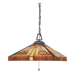 Quoizel - Quoizel Vintage Bronze Pendants - SKU: TF885CVB - This handcrafted Tiffany style collection illuminates your home with warm shades of amber, bisque and earthy green, arranged in a clean and simple geometric pattern reminiscent of the works of Frank Lloyd Wright. The sturdy base complements the Arts & Crafts style, and is finished in a Vintage Bronze.
