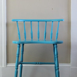 """Pieces in a Chatham Home - """"Little Blue"""" This solid maple stool with a simple turned dowel backrest makes a real splash. The owner acquired in a Boston antique shop and brought to our workshop for repair and re-purposing. Chalk paint in a custom Bahamian blue with a low VOC water-based Poly finish adds the durability the kid-friendly homeowner needed."""