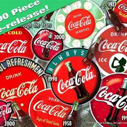 Coca-Cola Red Disc Icon Puzzle - 1000 Piece Jigsaw PuzzleThe Red Disc Icon Coca-Cola� jigsaw puzzle is being re-issued! Now a 1000-piece Coca-Cola� jigsaw puzzle, back in the day, it was originally 1500. Though it has slimmed down just a bit, there is still lots of great taste and refreshing fun to be found in all the familiar icons that make this Coca-Cola� jigsaw puzzle a true classic.
