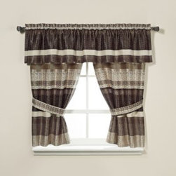 Croscill - Croscill Portland Window Curtain Valance in Black/Cream - Equally harmonious in urban or rustic settings, the Portland window curtain panel pair features a rich cream and black color woven together using both chenille and spun polyester yarns for a dramatic effect.