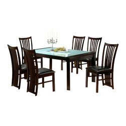 "CBMelissa - 7-Piece Melissa Collection Glass Top and Espresso Finish Wood Dining Table Set - 7-Piece Melissa collection glass top and espresso finish wood dining table set with leather like upholstery on the seats. This set includes the table with glass top and 6 side chairs upholstered in a leather like seat and a slatted back down the whole back of the chairs. Table measures 40"" x 72"" X 30"" H. Some assembly required."