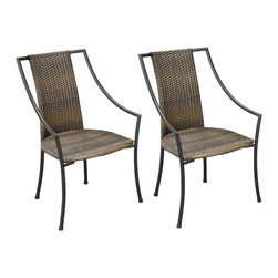 "Lamps Plus - Transitional Laguna Walnut and Black Set of 2 Outdoor Dining Chairs - Featuring a two-tone walnut brown woven seat and back the Laguna arm chair has an eye-catching look. The steel frame comes in a black powder-coated finish. Both moisture and weather resistant the synthetic weave requires very little maintenance. Adjustable nylon gliders prevent damage to deck or stone surfaces and provide stability on uneven surfaces. Black powder-coated finish. Steel frame. Synthetic weave. Set of two; price is for two chairs. 36"" high 23 1/4"" wide 22 1/4"" deep. Seat height is 18"".  Black powder-coated finish.   Steel frame.   Synthetic weave.   Set of two; price is for two chairs.   36"" high 23 1/4"" wide 22 1/4"" deep.   Seat height is 18""."