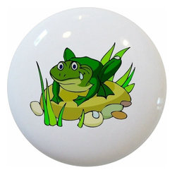 Carolina Hardware and Decor, LLC - Green Frog Ceramic Cabinet Drawer Knob - New 1 1/2 inch ceramic cabinet, drawer, or furniture knob with mounting hardware included. Also works great in a bathroom or on bi-fold closet doors (may require longer screws).  Item can be wiped clean with a soft damp cloth.  Great addition and nice finishing touch to any room.