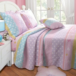 Greenland Home Fashions Polka Dot Stripe Bonus Quilt Set - The lighthearted, youthful feel of the Greenland Home Fashions Polka Dot Stripe Bonus Quilt Set brings a bit of play to any design palette. This fun set includes a comforter, decorative pillows, and a sham or two, depending on the size you choose. The oversized comforter is designed to offer coverage for today's deeper mattresses and features a face, stitching, and fill of 100% cotton. The coordinating pillows have polyester inserts and removable cotton covers. Product Dimensions:Twin comforter: 88L x 68W in. Full/queen comforter: 90L x 90W in.King comforter: 95L x 105W in.Small sham: 20L x 26W in.Large sham: 20L x 36W in.Decorative pillow: 18W x 18L in.About Greenland Home FashionsFor the past 16 years, Greenland Home Fashions has been perfecting its own approach to textile fashions. Through constant developments and updates - in traditional, country, and more modern styles – the company has become a leading supplier and designer of decorative bedding to retailers nationwide. If you're looking for high-quality bedding that not only looks great but is crafted to last, consider Greenland.
