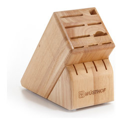 Wusthof - Wusthof 13-Slot Block - The Wusthof 13 slot storage block holds 1 cooks knife, four steak knives and the half moon slot will hold a shear, fork, or a knife. Safely store your knives in a safe and convenient storage block.