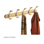 """Safco - Bamboo Wall Rack 5 Hook - Natural - Get long-lasting elegance with the beautiful look of bamboo. This bamboo wall mount rack features five coat hooks to ensure guests always have a place to hang their hat - and coats and scarves too! Bamboo coat racks come with the choice of a Natural Bamboo or Cherry finish and mounting hardware is included. Hook Quantity: 5 Doubles; Mounting Hardware: Included; Limited Lifetime Warranty; Dimensions: 30""""w x 7 3/4""""h x 4 3/4""""d"""