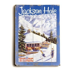 Artehouse 14 x 20 in. Jackson Hole Wyoming Wood Sign - A vintage design allows you to visit the Jackson Hole, Wyoming ski resort whenever you like, and more importantly, it will be just as you remembered it. Slatted wood construction adds timeless authenticity and material flair.