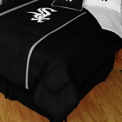 Sports Coverage - MLB Chicago White Sox MVP Micro Suede Comforter and Sheet Set Combo - Queen - Save money off our already low prices by getting the MLB Chicago White Sox MVP Micro Suede Comforter and Sheets together! The MVP Micro Suede Collection is unique in its appeal to both young and more mature tastes. Sporting team colors with sporty double porthole jersey edging, This generous-sized Comforter is made of faux suede coupled with jersey mesh on the sides and sporty double porthole jersey edging that stays colorfast, soft, and wrinkle-free. The comforter also has the team's same color on the other side! It is filled with 100% bonded polyester batting. Machine washable in cold water. Tumble dry in low heat.   Microfiber Sheet Hem sheet sets have an ultrafine peach weave that is softer and more comfortable than cotton.  Its brushed silk-like embrace provides good insulation and warmth, yet is breathable.  The 100% polyester microfiber is wrinkle-resistant, washes beautifully, and dries quickly with never any shrinkage. The pillowcase has a white on white print beneath the officially licensed team name and logo printed in vibrant team colors, complimenting the NEW printed hems. The Teams are scoring high points with team-color logos printed on both sides of the entire width of the extra deep 4 1/2 hem of the flat sheet.   Includes:  -  Flat Sheet - Twin 66 x 96, Full 81 x 96, Queen 90 x 102.,    - Fitted Sheet - Twin 39 x 75, Full 54 x 75, Queen 60 X 80,    -  Pillow case Standard - 21 x 30,    - Comforter - Twin 66 x 86, Full/Queen 86 x 86,