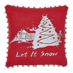 "VHC Brands - Let It Snow Red Burlap Pillow - This burlap pillow measures 16""x16"", is 100% woven cotton. This pillow is red cotton woven burlap with a stenciled theme on the front in a metallic silver, the edge of the pillow is accented with pom pom lace. The back features a 3"" overlap with 2-buttons to conceal pillow insert. Spot clean with a damp cloth."