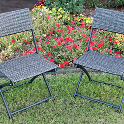 International Caravan - International Caravan Castillo Resin/ Steel Folding Chairs (Set of 2) - These Resin/Steel Folding Chairs will add a stylistic blend of the antique and the modern to any patio setting. These chairs have a striking Resin Weave/Steel build and folding capability for easy storage and deployment.