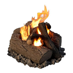 Real Flame - 4-Can Outdoor Log Set in Oak - Now you'll never have to haul wood for the fireplace again! Convert your outdoor fire pit to a gel flame with this simple to use conversion kit. Log set has a realistic oak bark finish. * Made from hand-painted cast concrete.. Comes complete with log set and decorative lava rock.. Uses Only Real Flame 13oz Gel Fuel Cans, not included. 16.5 in. W x 0 in. D x 9.5 in. H (25 lbs.)Convert your existing outdoor fire pit or fireplace to a Real Flame gel burning fire. Never worry about hauling wood, smoke, soot or ashes again. Enjoy and outdoor fire without smelling like one! Comes complete with lava rock and lift tool. Will burn up to Four cans of Real Flame gel fuel.