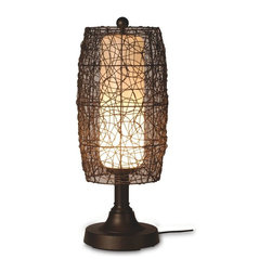 "PLC - Bristol 30"" Bronze Tube Table Lamp with Walnut Wicker Barrel Shade - Hand woven random weave walnut PVC wicker barrel shade enclosing an opal cylinder of light highlights this carefree durable contemporary outdoor lamp. Features weatherproof all resin construction with heavy weighted base, two level dimming switch and 16 ft. weatherproof cord and plug. Durable acrylic waterproof light bulb enclosure allows the use of a standard 100 watt light bulb. Dimensions: 12.5"" L X 12.5"" W X 30"" H"