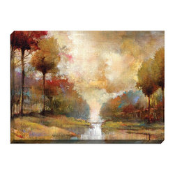 None - Fond Memory' Printed Gallery-wrapped Canvas Art - The 'Fond Memory' print features a lovely tree and bush landscape with a small stream. This print will make any room in your home feel tastefully finished.