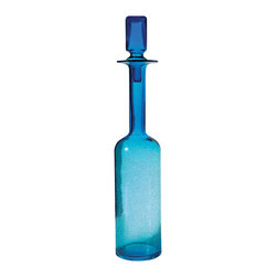 Lazy Susan - Lazy Susan LZS-824017 Pool Blue Decanter, Tall - Better than sapphire, turquoise or aquamarine, this shimmering blue glass decanter transforms natural light into pure bliss. Place it where it will capture the most light — windowsills are particularly charming — and see it sparkle all day long. Its modern lines and square stopper make it beautiful in shade as well as sun.