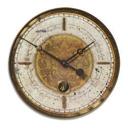 Uttermost - Uttermost Leonardo Script 18 Cream Wall Clock - Weathered laminated clock face with a cast brass outer rim, brass center components and internal pendulum. Requires 1-AA battery.