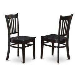 East West Furniture - Wooden Chair In Black Finish - Set of 2 - Set of 2. Slat-back stools. Made in Vietnam. Assembly required. Seat height: 18 in.. Overall: 17.5 in. W x 16.5 in. D x 37 in. H (36 lbs.)