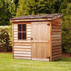 Cedar Shed - Cedar Shed 6 x 3 ft. Banff Wood Storage Shed - B63 - Shop for Sheds and Storage from Hayneedle.com! Additional features: Complete with one year limited manufacturer's warranty Includes a non-functional window Door can be placed on either side of the shed Assembly is easy with all necessary tools even the bit included Wood arrives pre-cut and ready to build Cedar features natural oils that preserve wood and resist insect damage Protect your investments by storing your valuable tools and equipment in the Cedar Shed 6 x 3 Ft. Banff Wood Storage Shed. It's built with quality cedar wood designed to withstand weather and insects better than other woods so you don't have to worry about rot and short-term durability. Ships with all the necessary tools for easy comprehensive assembly.For your convenience liftgate service is included with this purchase. This means that upon delivery the carrier will use a liftgate on the truck to lower your item to the ground. You will then need a dolly or handtruck or assistance with the product from that point on. Many retailers charge for this service of getting the package off the truck or require the customer to do it themselves.About Cedar Shed IndustriesSince 1980 Cedar Shed has grown to be one of the largest specialty cedar product manufacturers in the world. They offer top quality products like gazebos sheds and outdoor furniture all made from high-quality Western Red Cedar. Over the years Cedar Shed has grown developed and matured to the point where they are now shipping thousands of gazebos and garden sheds every year to customers around the world. Why Western Red Cedar?The supremacy of Western Red Cedar as an all-weather building material is entirely natural. Along with its beauty stability and endurance Western Red Cedar contains natural oils that act as preservatives to help the wood resist insect attack and decay. Properly finished and maintained Western Red Cedar ages gracefully and endures for many years. Western Red Cedar is non-toxic and safe for all uses. Over time the wood remains subtly aromatic and the characteristic fragrance adds another dimension to the universal appeal of the Cedar Shed products.