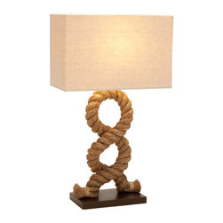 Benzara - Designers Lamps - Wood Metal Rope Pier Lamp 28in.H - Made with fabric shade with rope support and solid wood baseSize: 17 in. x8 in. x28 in.