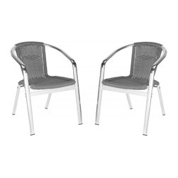Safavieh - Wrangell Indoor-Outdoor Stacking Armchair - A modern iteration of the fan back chair, the grey Wrangell indoor-outdoor stacking armchair by Safavieh is designed for parties in chic contemporary homes. Guests will love this comfortable chair, crafted of PE wicker and aluminum for enduring beauty, weather-resistance and easy care. Wrangell is sold in sets of two.