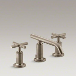 KOHLER - KOHLER Purist(R) widespread bathroom sink faucet with low cross handles and low - Combining architectural forms with sensual design lines, Purist faucets and accessories bring a touch of modern elegance to your bathroom. This sink faucet exemplifies the Purist collection�s understated style, with its low spout and cross handles. Easy-t