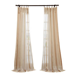 "Exclusive Fabrics & Furnishings, LLC - Carlton Crme Linen Blend Stripe Sheer Curtain - 66% Polyester 34% Linen. 3"" Pole Pocket. Unlined. Imported. Dry Clean Only."