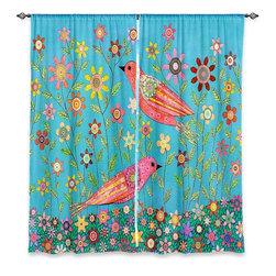 """DiaNoche Designs - Window Curtains Unlined - Sascalia Bohemian Birds - DiaNoche Designs works with artists from around the world to print their stunning works to many unique home decor items.  Purchasing window curtains just got easier and better! Create a designer look to any of your living spaces with our decorative and unique """"Unlined Window Curtains."""" Perfect for the living room, dining room or bedroom, these artistic curtains are an easy and inexpensive way to add color and style when decorating your home.  The art is printed to a polyester fabric that softly filters outside light and creates a privacy barrier.  Watch the art brighten in the sunlight!  Each package includes two easy-to-hang, 3 inch diameter pole-pocket curtain panels.  The width listed is the total measurement of the two panels.  Curtain rod sold separately. Easy care, machine wash cold, tumble dry low, iron low if needed.  Printed in the USA."""