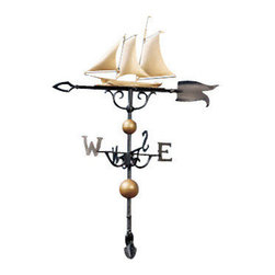 """Gold-Bronze Yacht Weather Vane - For the coastal home owner, or those who love the sea.  The handsome Gold-Bronze 46"""" Yacht Weathervane is an exact replica of an impressive naval sloop.  The fore-and-aft of this vessel consistently point in the direction of the wind.  Sails always stay at full mast.  Exceptionally crafted with wrought iron base and bronze details.  A must-have for the nautical enthusiast."""