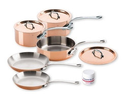 "Mauviel - Mauviel Cuprinox M150 M'Heritage 1.5mm 8-Piece Cookware Set - Set includes the following pieces:     (01) Mauviel 1.9 qt. sauce pan with lid model 6110.17    (01) Mauviel 3.6 qt. sauce pan with lid model 6111.21    (01) Mauviel 3.2-qt. saute pan with lid model 6111.25    (01) Mauviel frying pan 10.2"" model 6113.26    (01) Mauviel frying pan 8.6"" model 6113.22    (01) Copper Cleaner model 2700.021.5 mm. Cuprinox thickness ensures very rapid and uniform heat conduction 1.5 mm Cuprinox is composed by a thick layer of copper and a stainless steel layer in the interior of the pan. Polished outside. Fixed by sturdy stainless steel rivets. Polished stainless steel handles. No retinning required. Suitable for gas, electric, halogen and oven safe. Not suitable for induction cooktops. Made in France."