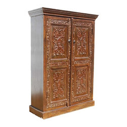 Solid Wood Hand Carved Doors Armoire Storage Closet Shelf - Stunning Handmade Carved Solid Indian Rosewood Wardrobe.