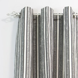 Chooty and Co Linen Thick & Thin Grommet Curtain Panel - If you feel like your style is adrift trying to find the perfect finishing touch, then the Chooty and Co Jefferson Driftwood Grommet Curtain Panel can help you find direction. The decidedly masculine look of the gray, black, and white stripe pattern adds a unique appeal to your home. The linen construction ensures easy care while providing a luxurious hand.About Chooty & Co.A lifelong dream of running a textile manufacturing business came to life in 2009 for Connie Garrett of Chooty & Co. This achievement was kicked off in September of '09 with the purchase of Blanket Barons, well known for their imported soft as mink baby blankets and equally alluring adult coverlets. Chooty's busy manufacturing facility, located in Council Bluffs, Iowa, utilizes a talented team to offer the blankets in many new fashion-forward patterns and solids. They've also added hundreds of Made in the USA textile products, including accent pillows, table linens, shower curtains, duvet sets, window curtains, and pet beds. Chooty & Co. operates on one simple principle: What is best for our customer is also best for our company.