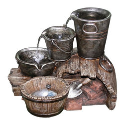 Yosemite Home Decor - Yosemite Home Decor Three-Layered Water Bucket Outdoor Fountain - CW97090 - Shop for Fountains from Hayneedle.com! Follow the trail of water from a big bucket to a medium-sized one to a smaller bowl and into a tub below with the Yosemite Home Decor Three-Layered Water Bucket Fountain. The gentle stream of water flows continuously leaving behind a peaceful stress-reducing feeling. Made of polyresin for durability and safe for indoor or outdoor use this decorative fountain is just right for placement amongst the foliage of a garden or patio area. LED lighting keeps it subtly lit and a hidden submersed pump keeps the water continuously flowing.About Yosemite Home DecorLocated in the Central Valley of Fresno Calif. Yosemite Home Decor is a leader in unique home products such as indoor and outdoor water fountains. The extraordinary beauty and unsurpassed quality of the Yosemite line will transform your home's inside and outside decor into a one of a kind experience. One of the coolest things about Yosemite Home Decor is its customers first attitude that has earned the company raves from those who have purchased their products. Yosemite's goals include designing and building quality fashionable products; giving employees distributors and builders the tools to succeed; and being ready always to satisfy your tastes in decor.